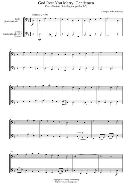God Rest You Merry, Gentlemen (for cello duet, suitable for grades 1-5)