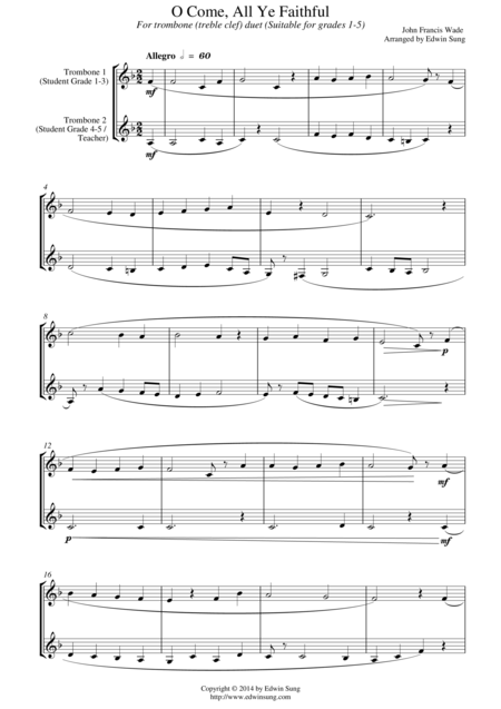 O Come, All Ye Faithful (for trombone duet (treble clef), suitable for grades 1-5)