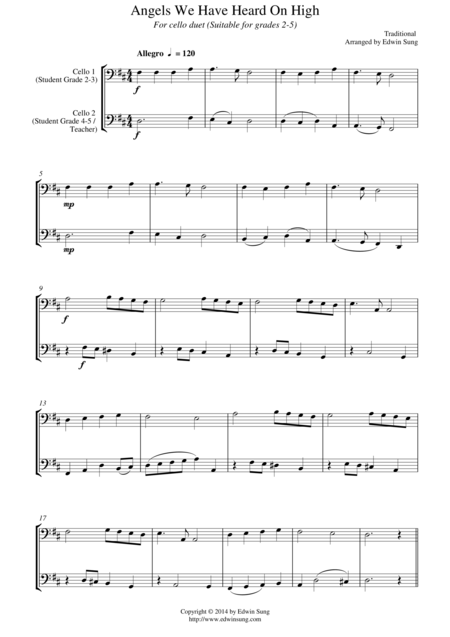 Angels We Have Heard On High (for cello duet, suitable for grades 2-5)