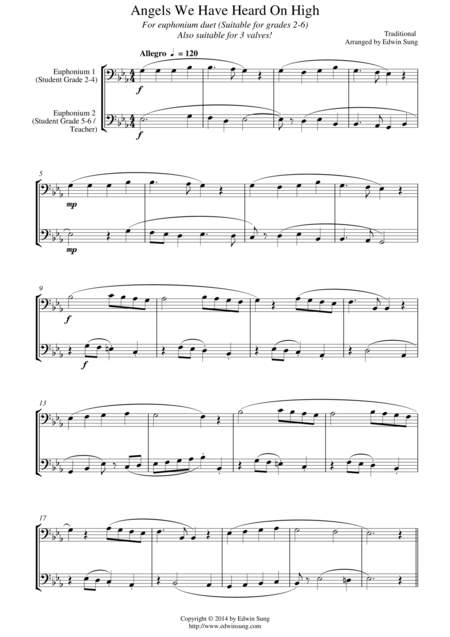 Angels We Have Heard On High (for euphonium duet (bass clef, 3 or 4 valved), suitable for grades 2-5)