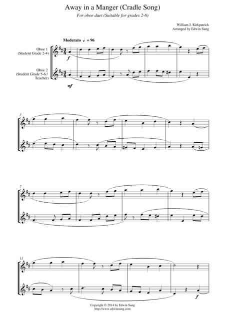 Away in a Manger (Cradle Song) (for oboe duet, suitable for grades 2-6)
