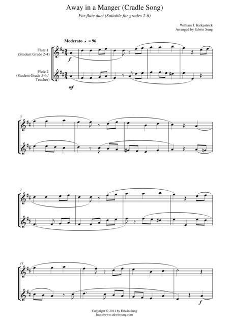Away in a Manger (Cradle Song) (for flute duet, suitable for grades 2-6)