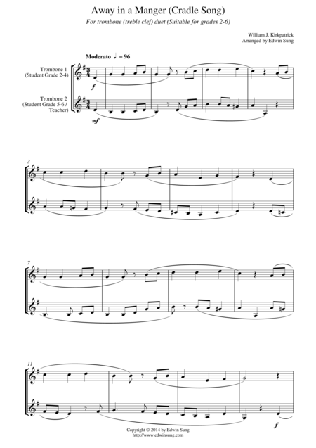 Away in a Manger (Cradle Song) (for trombone duet (treble clef), suitable for grades 2-6)