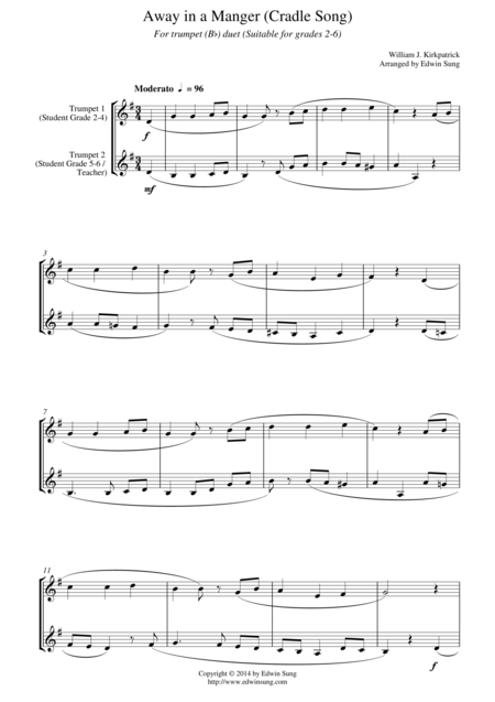 Away in a Manger (Cradle Song) (for trumpet (Bb) duet, suitable for grades 2-6)