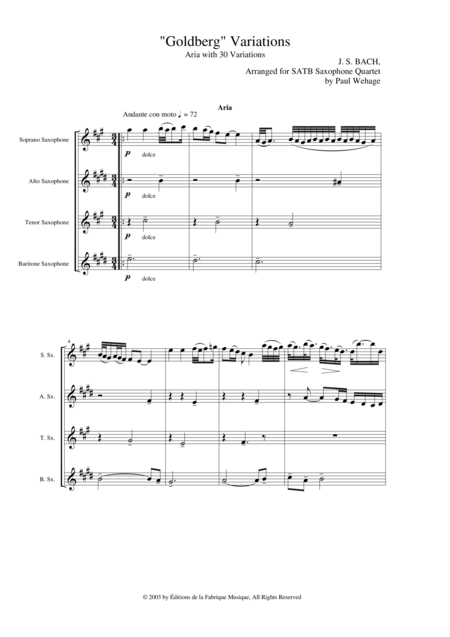 Johann Sebastian Bach/Wehage Goldberg Variations, BWV 988, arranged for SATB saxophone Quartet, score only