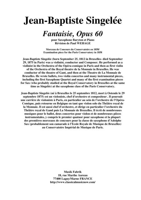 Jean-Baptiste Singelée Fantaisie, Opus 60 pour Saxophone Baryton et Piano, revised by Paul Wehage