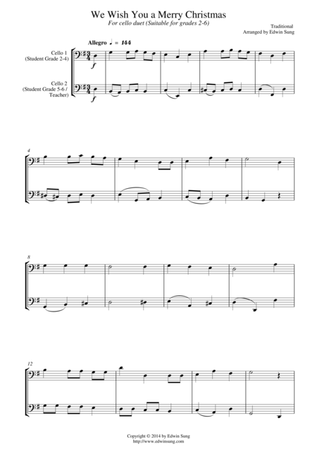 We Wish You a Merry Christmas (for cello duet, suitable for grades 2-6)