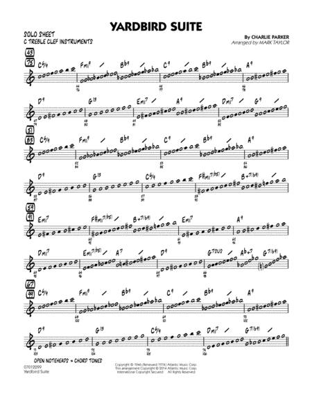 Yardbird Suite - C Solo Sheet