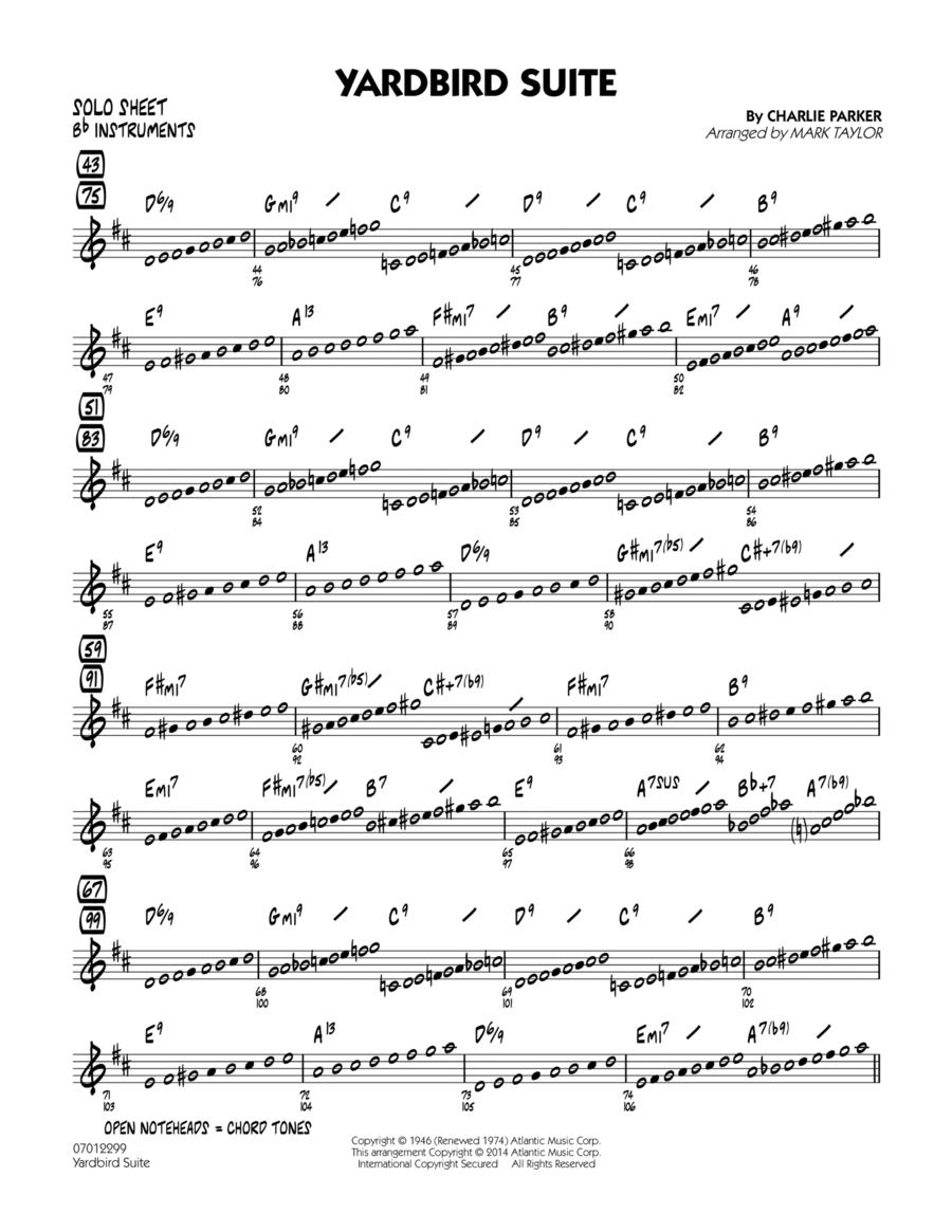 Yardbird Suite - Bb Solo Sheet