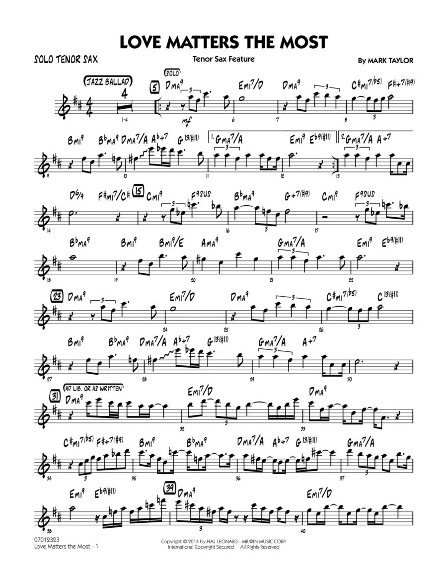 Love Matters the Most - Solo Tenor Sax