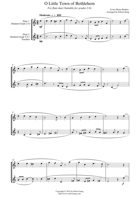 O Little Town of Bethlehem (for flute duet, suitable for grades 2-6)