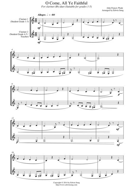 O Come, All Ye Faithful (for clarinet (Bb) duet, suitable for grades 1-5)
