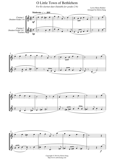 O Little Town of Bethlehem (for Eb-Clarinet duet, suitable for grades 2-6)