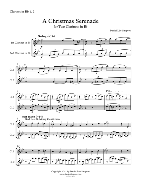 Christmas Serenade for Two Clarinets (A Christmas medley of songs)