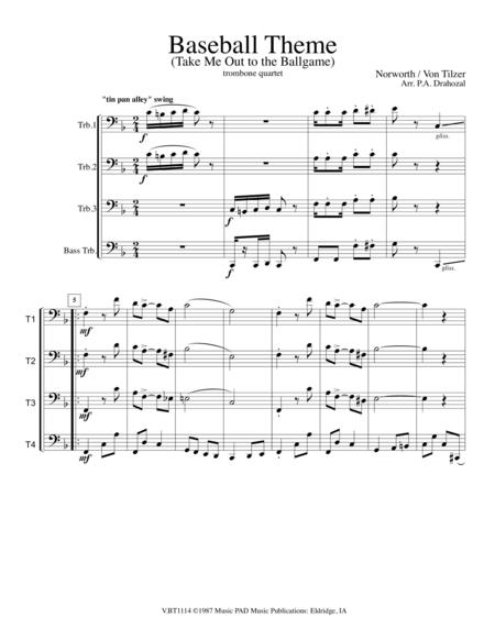 Take Me Out to the Ballgame (Baseball Theme) for Trombone Quartet