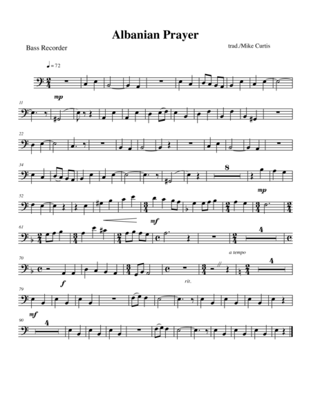 Albanian Prayer for SATB Recorder Quartet