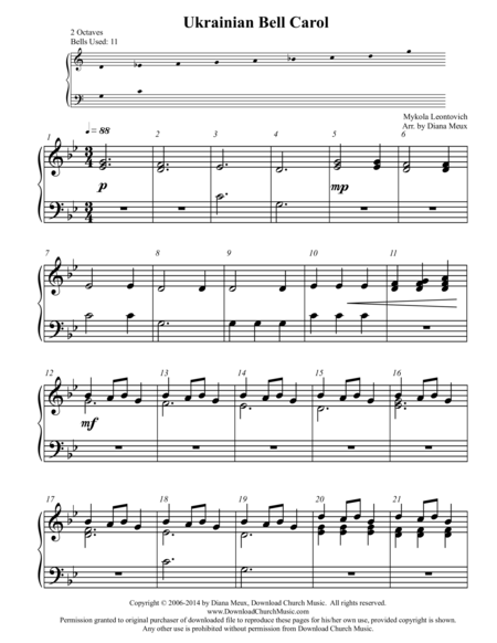 Ukrainian Bell Carol (Handbells or handchimes - 2 octaves)