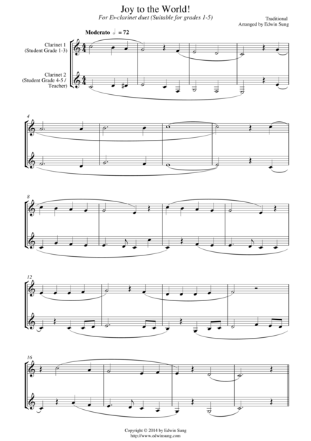 Joy to the World (for Eb-clarinet duet, suitable for grades 1-5)