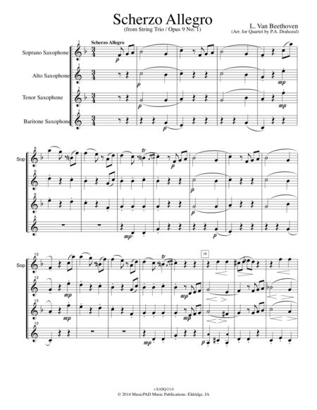 Scherzo Allegro (From String Trio Opus 9 No. 1) by L. Van Beethoven (for mixed saxophone quartet)