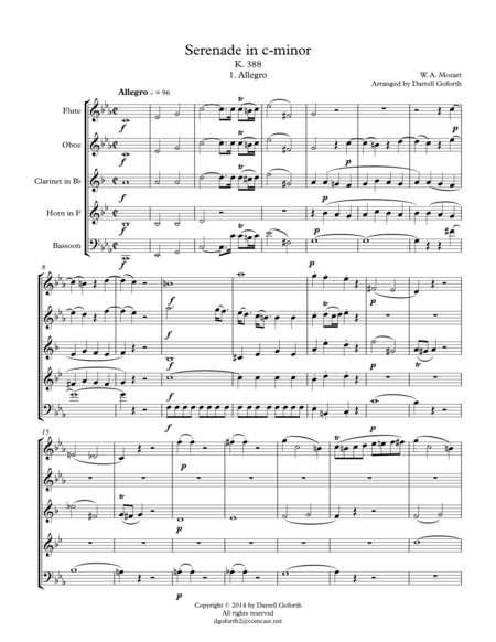 Mozart: Serenade in c-minor, K. 388 (Arranged for Wind Quintet)