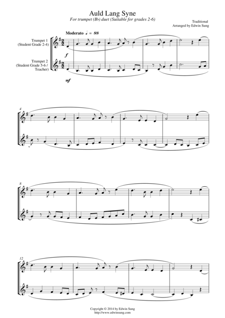 Auld Lang Syne (for trumpet (Bb) duet, suitable for grades 2-6)