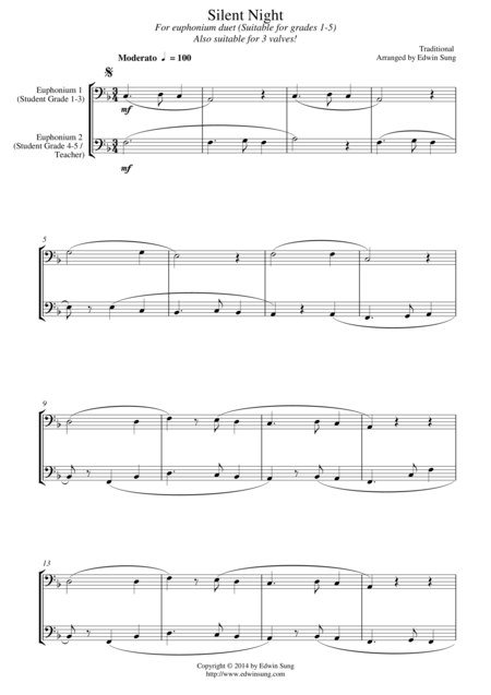 Silent Night (for euphonium duet (bass clef, 3 or 4 valved), suitable for grades 1-5)