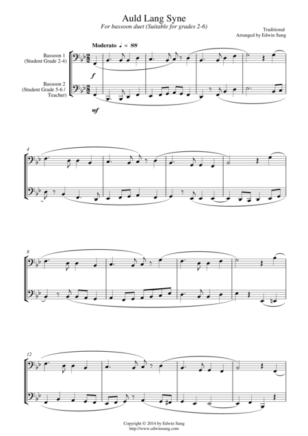 Auld Lang Syne (for bassoon duet, suitable for grades 2-6)
