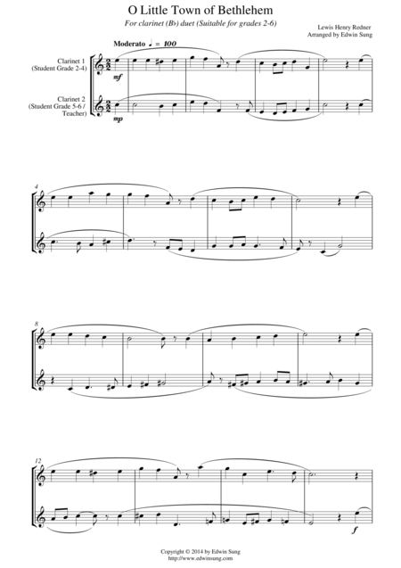 O Little Town of Bethlehem (for clarinet (Bb) duet, suitable for grades 2-6)