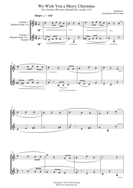 We Wish You A Merry Christmas (for clarinet (Bb) duet, suitable for grades 2-6)
