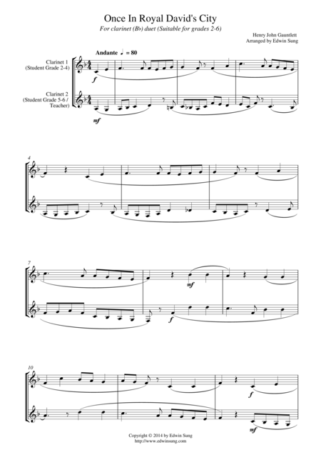 Once In Royal David's City (for clarinet (Bb) duet, suitable for grades 2-6)