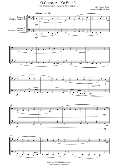 O Come, All Ye Faithful (for bassoon duet, suitable for grades 1-5)