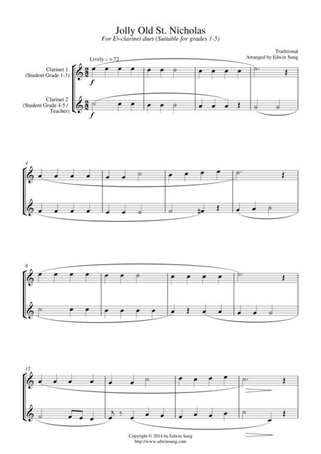 Jolly Old St. Nicholas (for Eb-Clarinet duet, suitable for grades 1-5)
