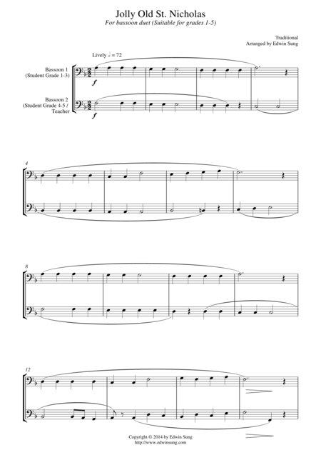 Jolly Old St. Nicholas (for bassoon duet, suitable for grades 1-5)