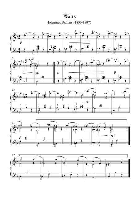 Piano Waltz opus 39 no 9 by Johannes Brahms