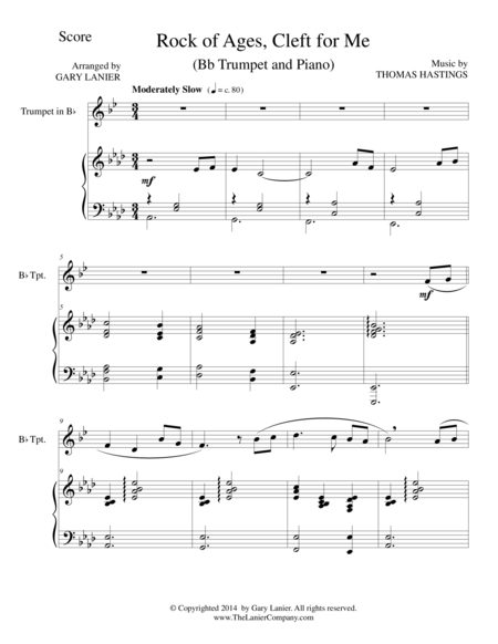 ROCK OF AGES (Bb Trumpet/Piano and Trumpet Part)
