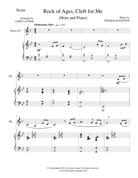 ROCK OF AGES (F Horn/Piano and Horn Part)