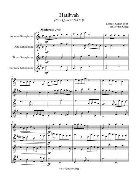 Hatikvah (Sax Quartet SATB)