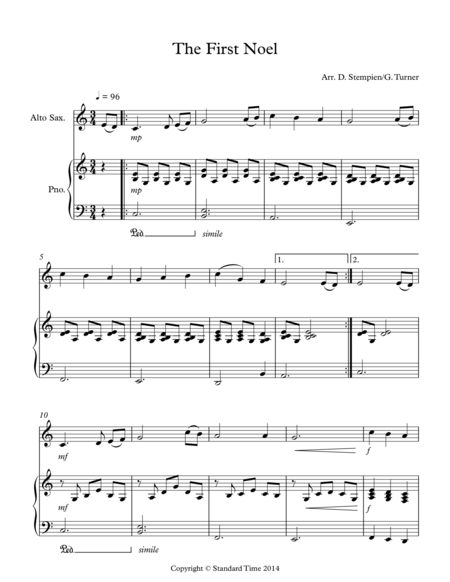 The First Noel for Alto Sax Solo with Piano Accompaniment