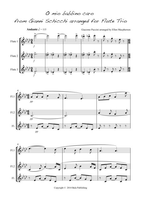 O Mio Babbino Caro - for Flute Trio (score and set of parts included)