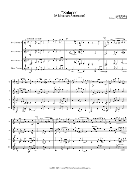 Solace -A Mexican Serenade by Scott Joplin (arranged for clarinet quartet)