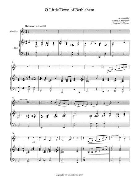 O Little Town of Bethlehem for Alto Sax Solo with Piano Accompaniment