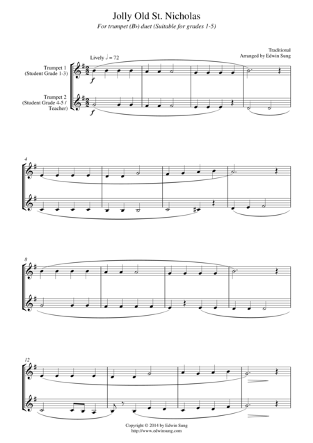 Jolly Old St. Nicholas (for trumpet (Bb) duet, suitable for grades 1-5)