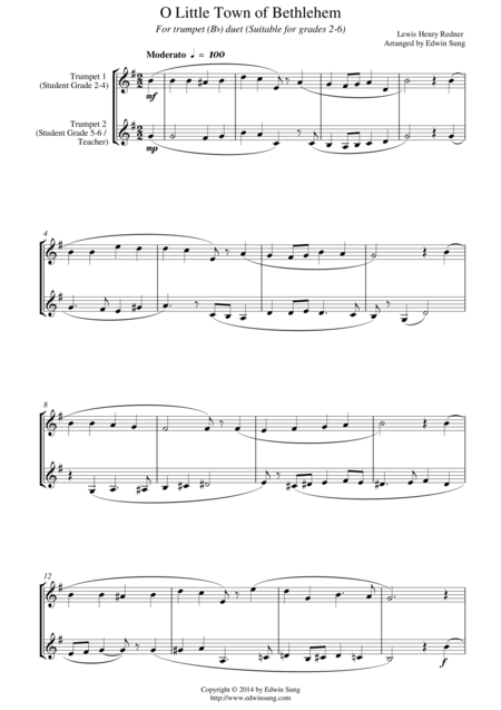 O Little Town of Bethlehem (for trumpet (Bb) duet, suitable for grades 2-6)