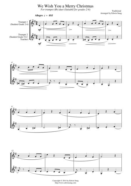 We Wish You A Merry Christmas (for trumpet (Bb) duet, suitable for grades 2-6)