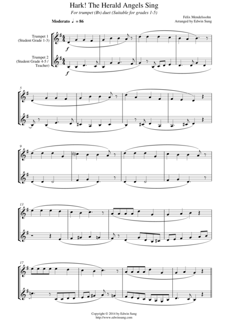 Hark! The Herald Angels Sing (for  trumpet (Bb) duet, suitable for grades 1-5)
