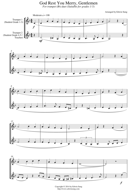 God Rest You Merry, Gentlemen (for trumpet (Bb) duet, suitable for grades 1-5)