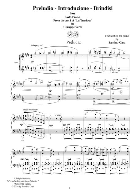 Verdi-La Traviata(Act1) Preludio-Introduzione-Brindisi - Solo piano
