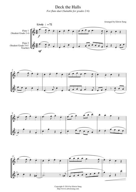 Deck the Halls (for flute duet, suitable for grades 2-6)