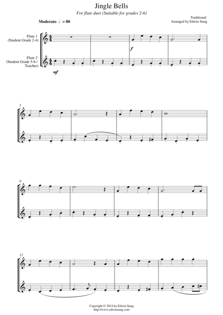 Jingle Bells (for flute duet, suitable for grades 1-5)