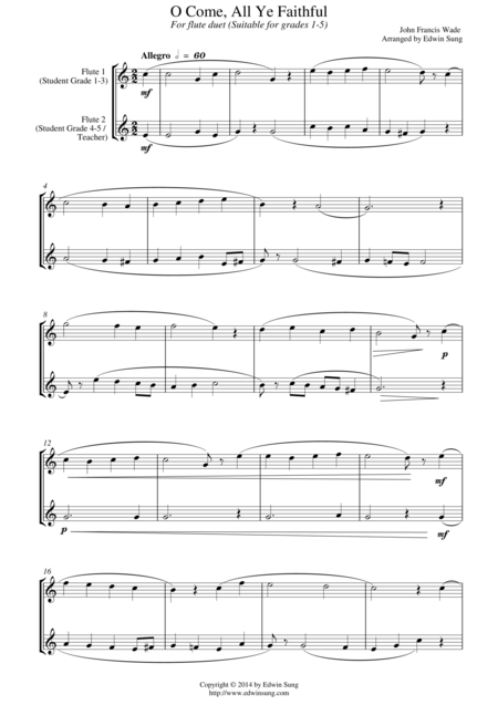 O Come, All Ye Faithful (for flute duet, suitable for grades 1-5)